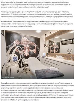 Onet - Kobieta / Uroda. Artykuł o klinice urody Beauty Duty